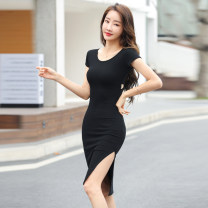 Dress Summer 2021 black S M L XL XXL 3XL longuette singleton  Short sleeve commute Crew neck High waist Solid color Socket One pace skirt routine 25-29 years old Type H Wind whispers Splicing asymmetry F81XQ6612 More than 95% knitting cotton Cotton 95% polyurethane elastic fiber (spandex) 5%