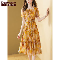 Dress Summer 2021 Decor 155/80A/S 160/84A/M 165/88A/L 170/92A/XL 175/96A/XXL Mid length dress singleton  Short sleeve commute Crew neck High waist Decor Socket A-line skirt routine Others 35-39 years old Type X Danmunier lady Bow fold lace up print More than 95% silk Mulberry silk 100%