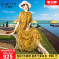Dress Spring 2021 Decor S M L XL Mid length dress singleton  Short sleeve street Crew neck High waist Decor Socket A-line skirt other Others 35-39 years old Kamilan kamilan printing KML21A11037 More than 95% silk Mulberry silk 100% Europe and America