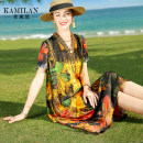 Dress Summer 2021 Decor S M L XL Mid length dress singleton  Short sleeve street V-neck Loose waist Decor Socket A-line skirt routine Others 35-39 years old Type A Kamilan kamilan printing KML21A13010 More than 95% silk Mulberry silk 100% Europe and America