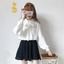 shirt White, pink Average size Autumn of 2018 polyester fiber 96% and above Long sleeves commute Regular stand collar Socket puff sleeve Solid color 18-24 years old Straight cylinder Other / other Korean version Bow tie