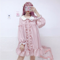 Dress Autumn of 2018 Long sleeve skirt Average size Middle-skirt singleton  Long sleeves Sweet Doll Collar Loose waist Socket Ruffle Skirt bishop sleeve Others 18-24 years old Type A Stitching, pleating, lace, agaric solar system