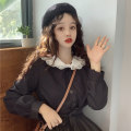Dress Autumn of 2019 Black skirt piece Average size Middle-skirt singleton  Long sleeves commute Admiral Loose waist Solid color Single breasted Big swing routine Others 18-24 years old Other / other Korean version