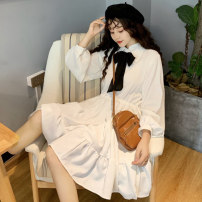 Dress Autumn of 2019 White dress (one piece), black dress (one piece) Average size Middle-skirt singleton  Long sleeves Sweet other Ruffle Skirt bishop sleeve Others 18-24 years old college