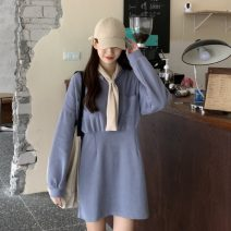 Dress Spring 2021 Light blue, black, pink Average size Miniskirt Long sleeves commute Scarf Collar Loose waist Solid color A-line skirt routine 18-24 years old Type H Korean version pocket 51% (inclusive) - 70% (inclusive) cotton