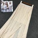 skirt Summer of 2019 Average size Off white longuette fresh High waist Ruffle Skirt Dot Type H 25-29 years old More than 95% brocade cotton Ruffles, zippers