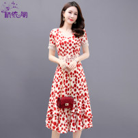 Dress Summer 2021 Red and black M L XL XXL Mid length dress singleton  Short sleeve commute V-neck High waist Dot Socket A-line skirt routine Others 25-29 years old Hangyi Pavilion Korean version Multi dimensional decorative zipper lace printing HYG2101975 More than 95% Chiffon polyester fiber