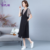 Dress Summer 2021 black M L XL XXL XXXL Mid length dress Fake two pieces Short sleeve commute Crew neck High waist Solid color Socket A-line skirt routine Others 25-29 years old Hangyi Pavilion Retro Three dimensional decoration of pocket stitching HYG21022211 More than 95% cotton