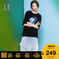 Dress Autumn of 2019 BKX / black Grx / green pkx / Pink F Middle-skirt 25-29 years old Greenishpink GNKDSNK904XDD 91% (inclusive) - 95% (inclusive) cotton Cotton 94.1% polyurethane elastic fiber (spandex) 5.9% Same model in shopping mall (sold online and offline)
