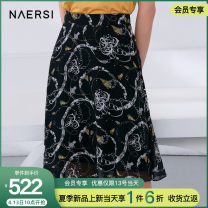 skirt Summer 2021 38/M 40/L 42/XL 44/XXL 46/XXXL black Mid length dress commute Natural waist Irregular Abstract pattern Type A 35-39 years old NW00953W0 More than 95% Chiffon Naersi / nals polyester fiber lady Polyester 100% Same model in shopping mall (sold online and offline)