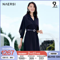 Dress Spring 2021 Dark Turquoise 38/M 40/L 42/XL 44/XXL 46/XXXL Middle-skirt Long sleeves commute tailored collar middle-waisted Solid color zipper A-line skirt Lotus leaf sleeve 35-39 years old Type X Naersi / nals lady 30% and below polyester fiber