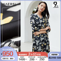 Dress Spring 2021 black 38/M 40/L 42/XL 44/XXL 46/XXXL Mid length dress singleton  Nine point sleeve commute V-neck middle-waisted Broken flowers zipper A-line skirt routine Others 35-39 years old Type X Naersi / nals Retro NF04894W0 More than 95% polyester fiber Polyester 100%