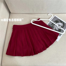 skirt Summer 2021 XS,S,M Red pleated skirt Short skirt Natural waist Pleated skirt Solid color Type A 25-29 years old 30% and below Wool wool