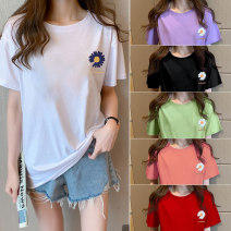 T-shirt 5673 white, 5673 pink, 5673 black, 5673 red, 5673 green, 5673 taro purple M,L,XL,2XL,3XL,4XL,5XL Summer 2020 Short sleeve Crew neck easy Regular routine cotton 96% and above 18-24 years old youth Other / other 5673#