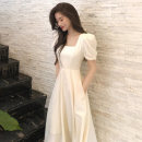 Dress Spring 2021 Apricot, black S,M,L,XL Mid length dress singleton  Short sleeve Sweet square neck High waist Solid color Socket Princess Dress puff sleeve Others 25-29 years old Type A Other / other Chiffon polyester fiber princess