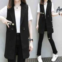 Women's large Summer 2020 black XL (recommended 100-120 kg), 2XL (recommended 120-140 kg), 3XL (recommended 140-160 kg), 4XL (recommended 160-180 kg) Vest singleton  commute Straight cylinder moderate Cardigan Sleeveless Korean version other Medium length Polyester, others Three dimensional cutting