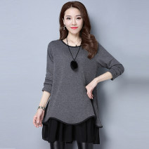 Women's large Winter 2020, autumn 2020, spring 2021 Dress Fake two pieces commute easy moderate Socket Long sleeves Solid color Korean version Crew neck Medium length other Collage routine Short skirt Ruffle Skirt Lotus leaf edge