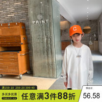 T-shirt White, black Xiaoxing 130cm,140cm,150cm,160cm,170cm male spring and autumn Long sleeves Crew neck leisure time There are models in the real shooting nothing Pure cotton (100% cotton content) other Cotton 100% Tctx21603 Class B Sweat absorption Chinese Mainland