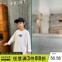 T-shirt white Xiaoxing 130cm,140cm,150cm,160cm,170cm male spring and autumn Long sleeves Crew neck leisure time There are models in the real shooting nothing Pure cotton (100% cotton content) other Cotton 100% Tctx21610 Class B Sweat absorption Chinese Mainland