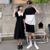 T-shirt Youth fashion Girls' dress boys' short sleeve routine S M L XL 2XL 3XL hammerman  Short sleeve Lapel easy daily summer HM1290 Cotton 95% polyester 5% Couples dress routine Exquisite Korean style Spring 2020 Solid color Splicing No iron treatment Fashion brand