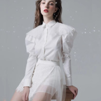 Dress Spring 2021 white UK4/XS,UK6/S,UK8/M,UK10/L,UK12/XL longuette singleton  Short sleeve Sweet One word collar High waist Solid color zipper A-line skirt routine straps 25-29 years old Type A MMF3206 More than 95% other polyester fiber Ruili
