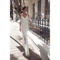 Dress Summer of 2019 white Xs, s, m, l, customized plus 120 yuan longuette singleton  Short sleeve street V-neck middle-waisted Solid color Big swing Flying sleeve camisole 25-29 years old Type A Pleated, open back fb000294 71% (inclusive) - 80% (inclusive) Silk and satin polyester fiber