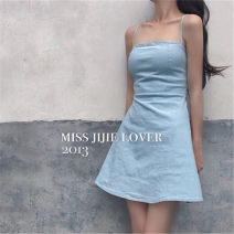 Dress Spring 2021 Blue, white, black, orange powder S,M,L Short skirt Sweet High waist Solid color zipper A-line skirt camisole Type A 51% (inclusive) - 70% (inclusive) other cotton college