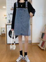 Dress Summer 2020 Blue, black S,M,L Middle-skirt singleton  commute Solid color straps 18-24 years old Korean version 6622H 71% (inclusive) - 80% (inclusive) cotton
