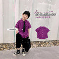 shirt Same tie for purple shirt A Xiaoxuan male 90cm, 100cm, 110cm, 130cm, 140cm, 150cm, 120 (Xiaoxuan size) summer Short sleeve leisure time Solid color cotton