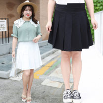 skirt Summer of 2019 XL,4XL,XXL,XXXL Black, white, gray blue fresh Pleated skirt Solid color 25-29 years old XCX041 other other zipper