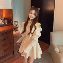 Dress Autumn 2020 Apricot, black Average size Short skirt singleton  Long sleeves commute Polo collar High waist Solid color Socket other other Others 18-24 years old Type A Korean version Lotus leaf edge polyester fiber