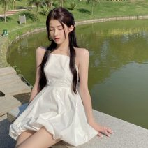 Dress Summer 2021 lwd  S, M Middle-skirt singleton  Sleeveless commute One word collar High waist Solid color Socket A-line skirt other Hanging neck style 18-24 years old Type A Korean version Bow, open back 8259-1