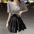 Fashion suit Summer 2021 Average size 2797 letter T-shirt, 2798 pleated little black skirt 18-25 years old 2797#