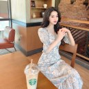 Dress Spring 2021 Picture color S,M,L Mid length dress singleton  elbow sleeve commute V-neck High waist Decor Socket A-line skirt puff sleeve Others 18-24 years old Korean version printing