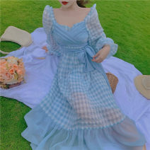 Dress Summer 2020 S,M,L longuette singleton  Long sleeves commute square neck High waist lattice zipper Big swing Lotus leaf sleeve Others 18-24 years old Type A Other / other Korean version 51% (inclusive) - 70% (inclusive) other