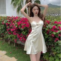 Dress Summer 2021 Apricot, blue S,M,L Short skirt singleton  Sleeveless commute V-neck High waist Solid color Socket A-line skirt other camisole 18-24 years old Type A Other / other Korean version Frenulum