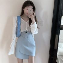 Fashion suit Spring 2021 S. M, average size White T-shirt, blue skirt 18-25 years old 2822# polyester fiber