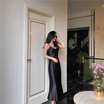 Dress Summer of 2019 S,M,L longuette singleton  Sleeveless commute V-neck High waist Solid color A-line skirt camisole 18-24 years old Type A Korean version