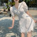 Dress Summer 2021 white S,M,L Middle-skirt singleton  Short sleeve commute V-neck High waist Solid color A-line skirt puff sleeve Others 18-24 years old Type A Korean version Hollow out, bandage 8326# 31% (inclusive) - 50% (inclusive) other cotton