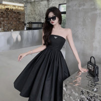 Dress Summer 2021 black S, M Mid length dress singleton  Sleeveless commute square neck High waist Solid color zipper A-line skirt other Breast wrapping 18-24 years old Type A Korean version 51% (inclusive) - 70% (inclusive)