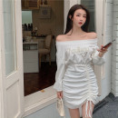 Dress Summer 2021 White, black Average size Short skirt Fake two pieces Long sleeves commute One word collar High waist Solid color Socket other bishop sleeve Others 18-24 years old Type A Korean version Frenulum