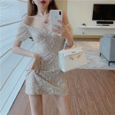 Dress Summer 2021 Picture color S, M Middle-skirt singleton  Short sleeve commute One word collar High waist Decor Socket A-line skirt routine Others 18-24 years old Type A Korean version Hollowing out Lace