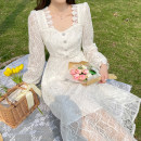 Dress Spring 2021 White heavy industry dress S,M,L Mid length dress singleton  Long sleeves commute One word collar High waist Decor A-line skirt puff sleeve Others 18-24 years old Type A Korean version Lace