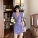 Dress Summer 2021 violet S,M,L Middle-skirt singleton  Short sleeve commute V-neck High waist Broken flowers Socket A-line skirt routine Others 18-24 years old Type A Korean version printing