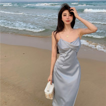 Dress Summer 2021 Apricot, blue S, M longuette singleton  Sleeveless commute other High waist Solid color zipper One pace skirt camisole 25-29 years old Type A Other / other Korean version zipper 91% (inclusive) - 95% (inclusive) other polyester fiber