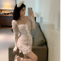 Dress Summer 2021 white S, M Short skirt singleton  Long sleeves commute One word collar High waist Decor Socket A-line skirt Others 18-24 years old Type A Korean version Lace 31% (inclusive) - 50% (inclusive) Lace cotton