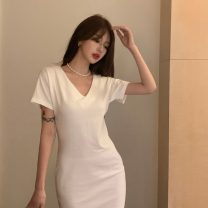 Dress Summer 2021 white Average size Middle-skirt singleton  Short sleeve commute V-neck High waist Solid color Socket One pace skirt routine Others 18-24 years old Type A Korean version other