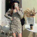 Dress Spring 2021 Off white, honey pink S, M Middle-skirt singleton  Long sleeves commute V-neck High waist Broken flowers Socket A-line skirt other Others 18-24 years old Type A Korean version 7165#
