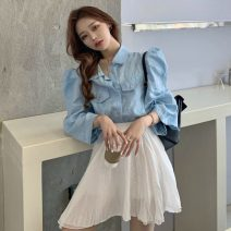 Fashion suit Summer 2021 Average size Blue top, white skirt 18-25 years old 96% and above cotton