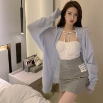 Fashion suit Spring 2021 S, M White sling, grey skirt, blue cardigan 18-25 years old 2206#